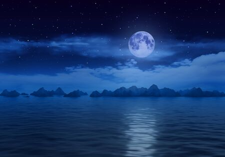 Large full moon over water with rocks. 3D rendering.