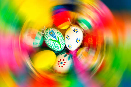 Traditional arrangement of easter eggs and easter feathers Stock Photo - 6650340
