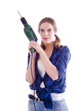 young woman with drill machine photo