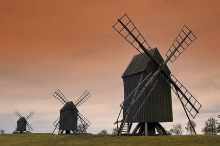 Old wooden windmills on the island Oeland, Sweden