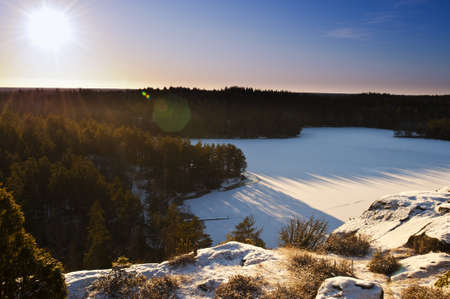 Beautiful winter landscape in the swedish countryside, Småland.