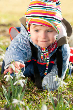 Cute little girl crawls on the ground and discover fresh snow drops in spring. Stock Photo