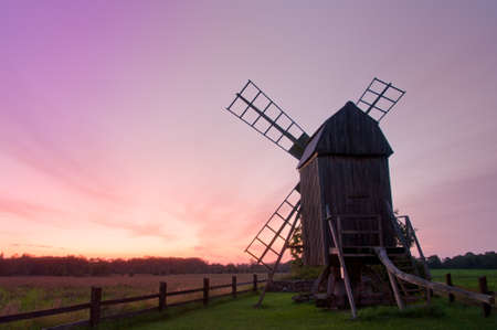 Windmill on the island Oland, Sweden, in the evening light