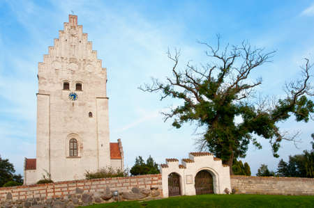 The Elemelunde church on the island Moen, Denmark, famous for its wall medieval paintings. Stock Photo