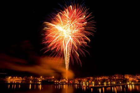 Fireworks over the harbor of Oskarshamn, Sweden Stock Photo - 11830218