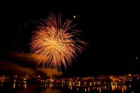 Fireworks over the harbor of Oskarshamn, Sweden photo