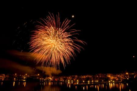 Fireworks over the harbor of Oskarshamn, Sweden