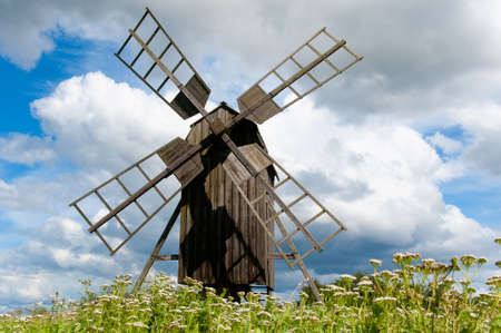Old wooden windmill on the island Oeland, Sweden