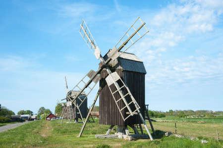 Old wooden windmills near the village Lerkaka on the swedish island Oeland  Stock Photo - 13839405