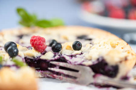 A blueberry cake, with fresh blueberries and a raspberry on its top  close up photo