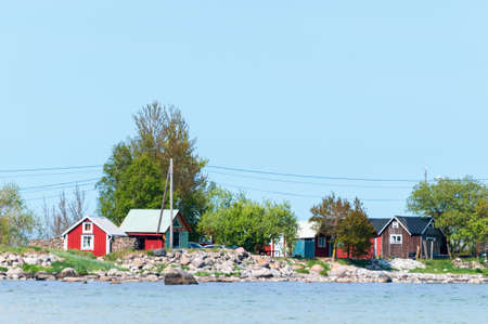oland: Small houses at the coast of the baltic sea island, Sweden Stock Photo