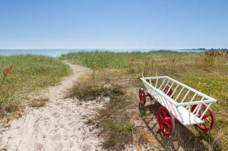 Way over the dunes down to the beach near Bl�singe Hamn at the east coast of the swedish island Oeland  photo
