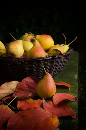 Basket with fresh pears - low key photograph photo