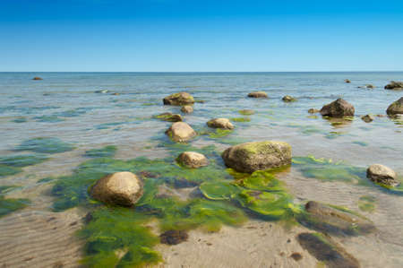 Clear water and rocks at the beach near Bläsinge on the island Oeland, Sweden photo