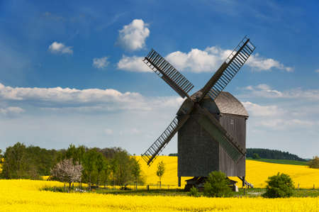 Old windmill in West Pomerania near Storkow, Germany, surrounded by rape fields in spring  photo