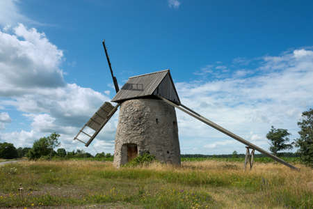 smock: Old windmill of smock mill type near the village Ala on the island Gotland, Sweden Stock Photo