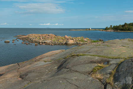 Swedish east coast with smooth polished granite rocks.  Imagens