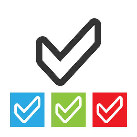 Confirm icon. Check mark simple logo. Flat vector illustration of the check mark isolated on a white background.