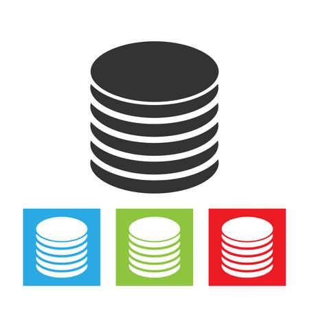Database icon. Simple logo of database isolated on white background. Storage flat vector illustration.