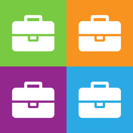 Suitcase icon. Travel baggage logo isolated on white background. Flat vector illustration.  イラスト・ベクター素材