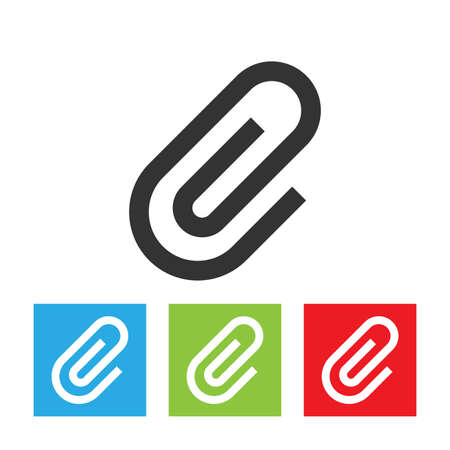 Paperclip icon. Simple logo of paperclip sign on white background. Flat vector illustration.