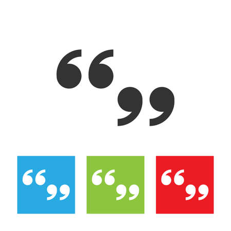 Quote sign icon. Simple logo of quote sign on white background. Flat vector illustration.