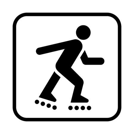 Roller skating icon. Flat vector illustration isolated on white background. Vettoriali