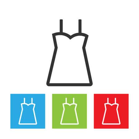 Dress icon. Simple falt logo of dress isolated on white background. Outline vector illustration. Ilustração
