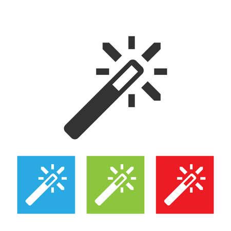 Magic wand icon. Simple logo of magic wand on white background. Flat vector illustration.