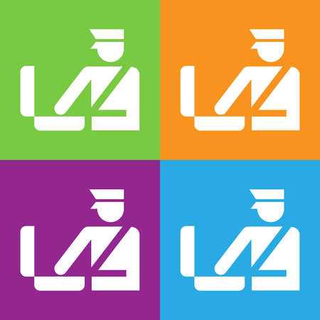 Custom officer icon. Immigration officer logo. Baggage checking. The ban, border, customs and immigration. Flat vector illustration. Foto de archivo - 110373792