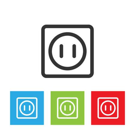 Power socket icon. Simple logo of power socket isolated on white background. Flat vector illustration.