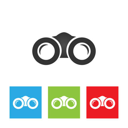 Binoculars icon. Simple logo of binoculars isolated on white background. Flat vector illustration. Stock Illustratie