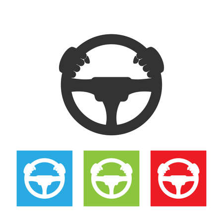 Driver icon. Simple logo of steering wheel on white background. Flat vector driver illustration. Stock Illustratie