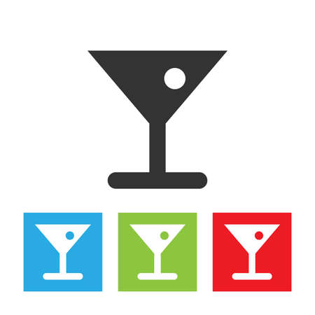 Glass of cocktail icon. Acloholic beverage in glass with olive. Flat vector illustration.