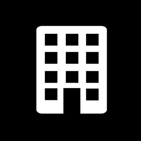 Building icon. Simple logo of town building on black background. Flat illustration.