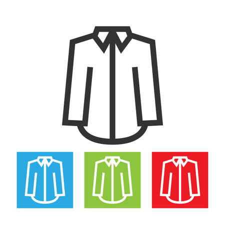 Shirt icon. Simple abstract logo of shirt with long sleeves on white background. Flat vector illustration.