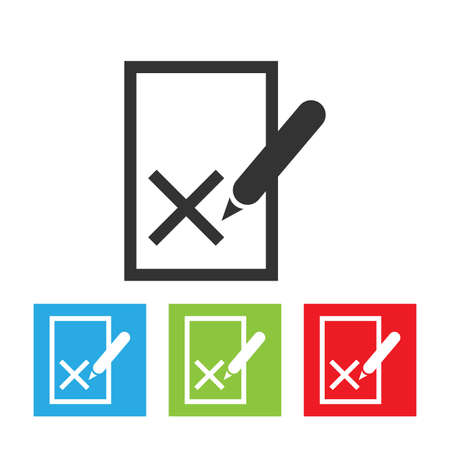 Blacklist icon. Rejected symbol on the file with a pen. List with shadow. Flat vector illustration. Stock Vector - 110317489
