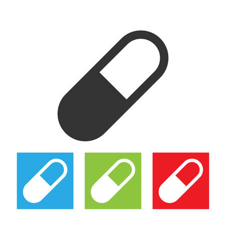 Pill icon. Simple logo of pill on white background. Flat vector illustration.