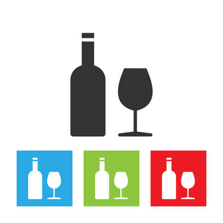 Wine icon. Wine and glass abstract logo isolated on white background. Flat vector illustration.