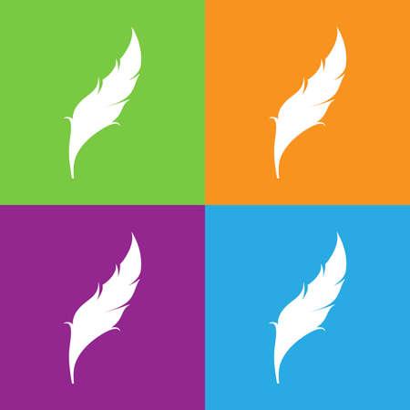 Birds feather icon. Feather logo isolated on white background. Flat vector illustration.