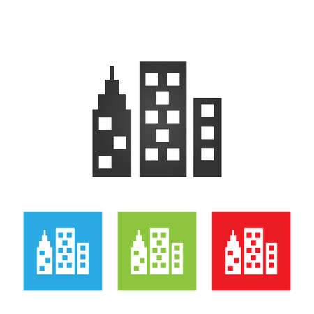 City icon. Simple logo of city on white background. Flat vector illustration. Ilustração