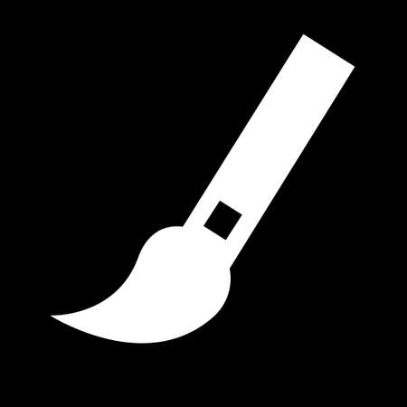 Paint brush icon. Simple logo of paint brush on black background. Flat vector illustration.