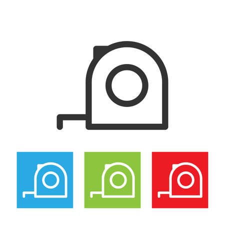 Tape measure icon. Roulette construction symbol. Simple logo of tape measure isolated on white background. Flat vector illustration. Çizim