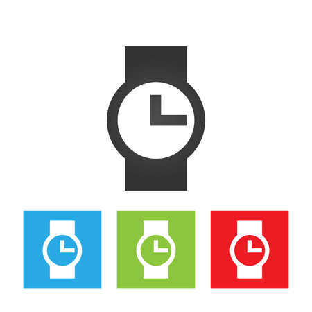 Watch icon. Simple abstract logo of watch sign on white background. Flat vector illustration.