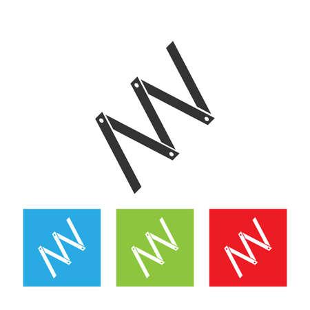 Faltmaßsymbol. Einfaches Logo der Faltmaßnahme auf weißem Hintergrund. Zimmermannsmaß. Flache Vektorillustration.