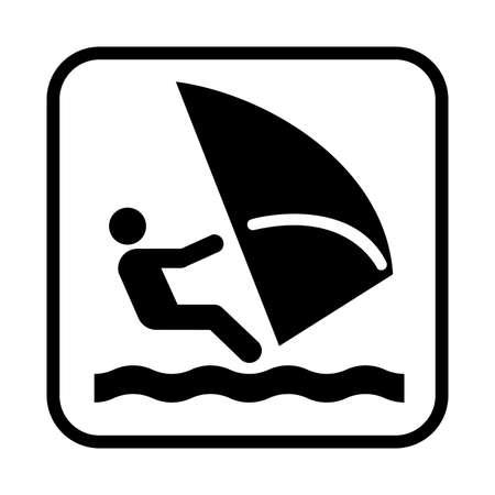Yachting or sailing icon. Flat vector illustration isolated on white background. Illustration