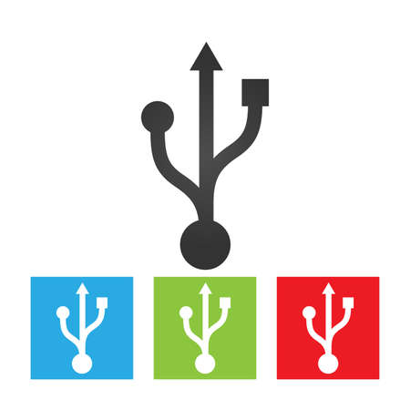 Usb icon. Simple logo of usb sign terminal on white background. Flat vector illustration.
