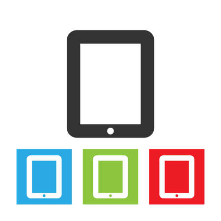 Tablet PC icon. Simple logo of tablet PC on white background. Flat vector illustration. Çizim