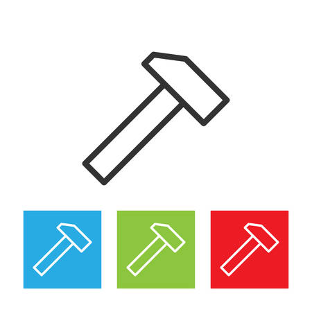 Hammer icon. Simple logo of hammer on white background. Flat vector illustration.