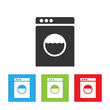 Washing machine icon. Washer abstract logo isolated on white background. Flat vector illustration. Stockfoto - 110376896